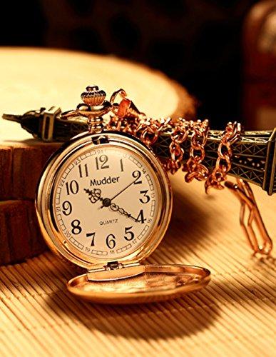 Mudder Classic Smooth Vintage Steel Pocket Watch For Men, Rose Golden 2