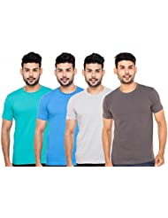 Fleximaa Men's Round Neck T-Shirt Plain Combo Offer (Pack Of 4) - Shade Green,Royal Blue,Grey Milange & Steel...