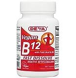 Deva Vegan Vitamins Sublingual B-12, 90 Tablets (Pack of 2)