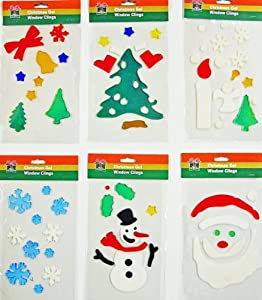 Christmas window clings 6pk of holiday gel art for Amazon gelbsticker