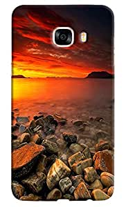 Omnam Sea Side With Sun Rise Effect Beautiful Printed Designer Back Cover Case For Samsung Galaxy C5