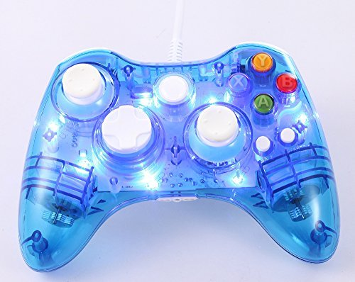 Tomsenn USB Wired Gamepad Controller for PC & XBox 360 (Blue) - Glow Lightning Joystick Joypad Supports Shock Vibration Feedback for PC Windows, Steam OS (Xbox 360 Wired Blue compare prices)