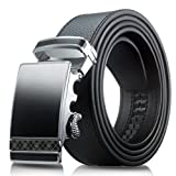 Men's Genuine Leather Belt- Ratchet Black Dress Belt for Men with Automatic Buckle. (Up to Size 46, Black With Buckle #07)