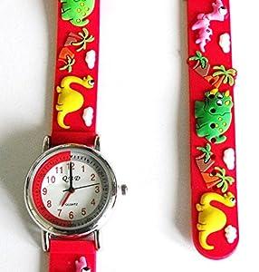 Boys Dinosaur Watch - Red 13-17cm 3D Rubber Strap - Easy Read Time Teacher Face