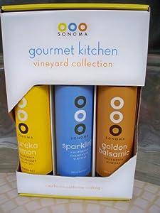 Sonoma Gourmet Kitchen Vineyard Collection Eureka Lemon Olive Oil, Sparkling Champagne Vinegar, & Golden Balsamic California Vinegar 8.5 Oz Each Sealed Best By 10/16