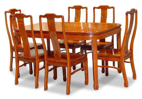 "60"" Rosewood Round Dining Table with 6 Chairs - Chinese Longevity Design"