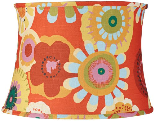 Persimmon Floral Drum Lamp Shade 14X16X11.5 (Spider)