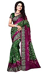 Dealfiza Charming Green Bandhani Saree