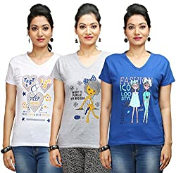 Flexicute Women's Printed V-Neck T-Shirt Combo Pack (Pack of 3)- Grey Milange, White & Royal Blue Color. Sizes : S-32, M-34, L-36, XL-38