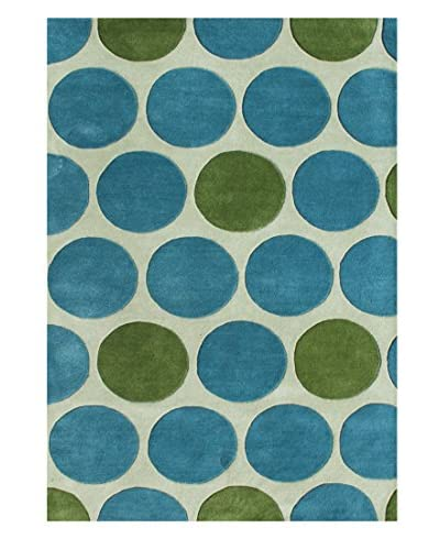 Fashion N You Handmade New Zealand Wool Rug, Light Aspen Green/Green/Peacock Blue, 8′ x 10′