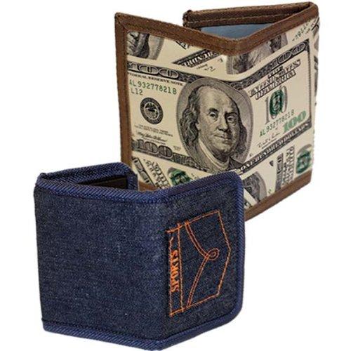 100% PVC Tri-fold Mens Wallet Money,Jeans #835TA_M-J