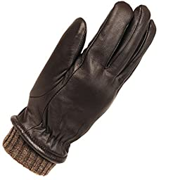 Wilsons Leather Mens Heather Knit Leather Glove W/ Elastic Knit Cuffs XL Brown