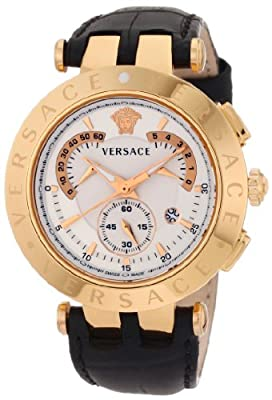 "Versace Men's 23C80D002 S009 ""V-Race"" Rose Gold-Plated Watch with Black Leather Band"