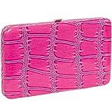 5 Pink Alligator Pattern Flat Wallet w/Matching Checkbook Holder