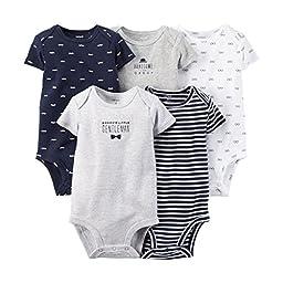 Carter\'s Baby Boys\' 5 Pack Bodysuits (Baby) - Navy - 9M
