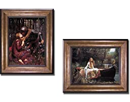La Belle Dame Sans Merci & The Lady of Shalott by Waterhouse 2-pc Premium Bronze Framed Canvas Set (Ready-to-Hang)