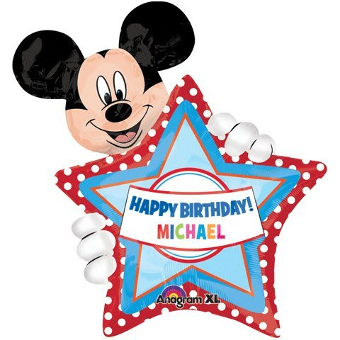 Mickey Mouse Personalized Mylar Balloon with Star Personalize Your Child's Name!