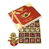 Chocholik Belgium Chocolates - Lovely 20pc Mix Assorted Chocolate Box With Ganesha Idol - Diwali Gifts