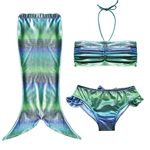 iiniim Girl's Kids Princess 3Pcs Mermaid Swimmable Swimsuit Swimwear Costume