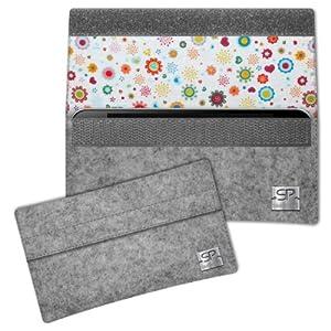 SIMON PIKE Blumen Hülle Handytasche NewYork 8 grau für Apple iPhone 5S 5C 5 aus Filz