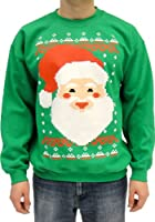 Ugly Christmas Sweater - Big Santa Claus Face Adult Green Sweatshirt