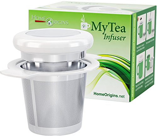 Big Save! Ultra Fine Loose Leaf Tea Infuser with Lid ~ Large Capacity Wide Rimmed Double Winged Stai...