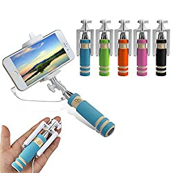 Evana Compact Pocket Size Selfie Stick Wired for iPhone and Android Aux Cable Monopod Premium Series for Iphone, Android, window phone, No bluetooth, No charging required (assorted Colors) Free TTL Mobile Pouch Worth Rs.199