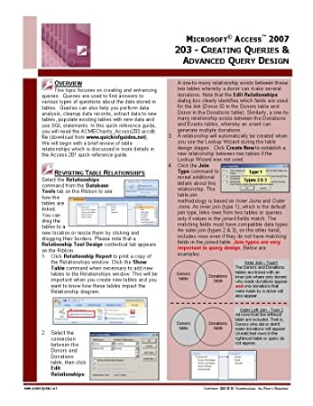 Microsoft Access 2007 Quick Reference Guide: 203 - Designing & Enhancing Data Queries