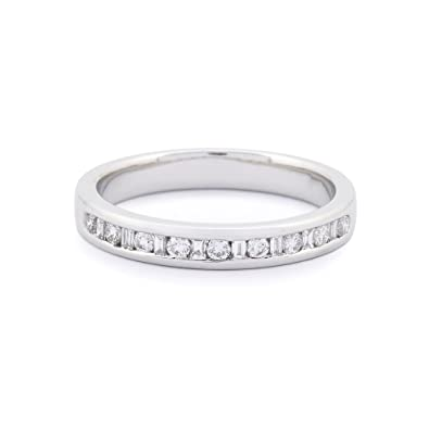 18ct white gold 0.25 carat round and baguette diamond eternity ring