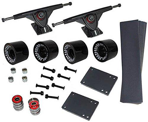 Longboard Set 4 Rollen in schwarz 70x50 mm 80A 8 x Kugellager ABEC-7 Schrauben Zubehör NEU