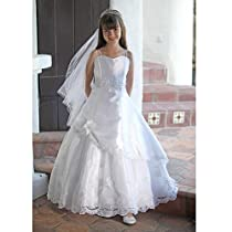 Big Sale Angels Garment Girls Satin Lace First Communion Dress Bolero Set 14