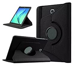Black- 360 Degree Rotating PU Leather Stand Flip Cover Case for Samsung Galaxy Tab E 9.6