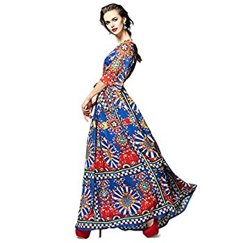 Dezzal Women's Vintage Geometric Print Cocktail Party Maxi Dress