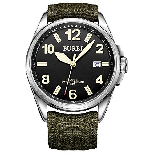 Orologio Militare Unisex BUREI, Quadrante Luminoso Nero, Cinturino in Tela Verde Militare