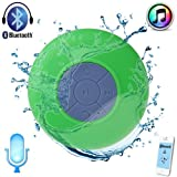 WOWTOU(TM) Mini Portable Waterproof Wireless Bluetooth Stereo Speaker with Suction Cup for Showers, Bathroom, Pool, Boat, Car, Beach, Outdoor etc. Compatible with All Bluetooth-enabled Devices, iPhone 5S/5/4S and All Android Devices (Green)