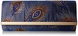 Jessica McClintock Addison Feather Flap Clutch, Blue, One Size