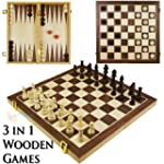 3 in 1 Wooden Board Game Set Compendi...