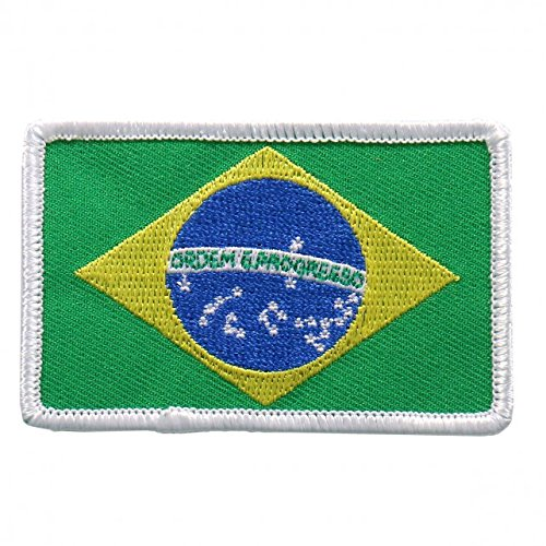 "Embroidered BRAZILIAN Flag PATCH, Iron-On / Sew-On - 3"" x 2"""