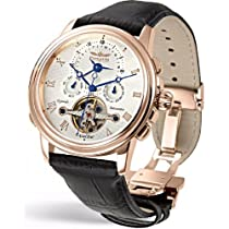 Perigaum Excalibur Dual Time Zone Watch with Rose Gold - White Dial - 0502-RGW