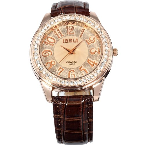 AMPM24 Fashion Bling Crystal Women Lady Girl Analog Coffee Leather Quartz Watch Gift