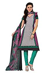 Araham Pink and Green Printed 100% Cotton Unstitched Salwar Suit Dress Material