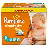 Pampers Windeln Simply Dry Gr.5 Junior 11-25kg Jumbo Box, 2er Pack (2x 66 Stück)