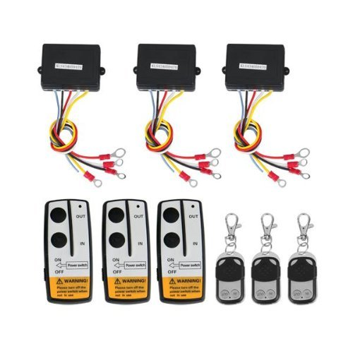 TOOGOO(R) 3 Wireless Winch Remote Control Kit 12V for Truck Jeep SUV ATV