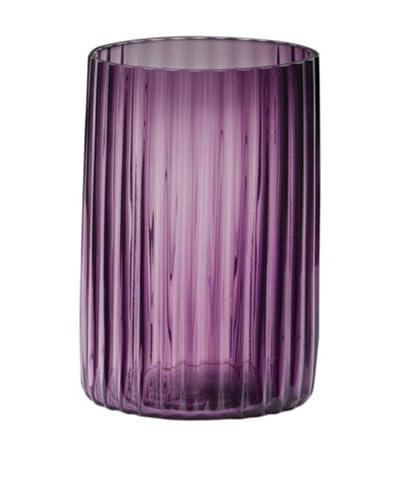 Dynasty Glass Viola Collection Cylinder Groove Vase, Violet