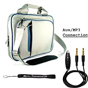Blue Ultra Slim Edition Portable Protective Shoulder Carrying Cover Fitted Case For Verizon Motorola Xoom Tablet (Compatible with All Models) + Includes a eBigValue (TM) Determination Hand Strap Key Chain + Includes a 3ft AUX (Auxiliary) Connector Cable with MIC and Mute Button