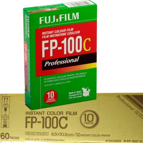 Fujifilm Fujicolor Professional FP-100C Color Instant Film – ISO 100 – Case of 60 packs of 10 exposures each, 600 photos..