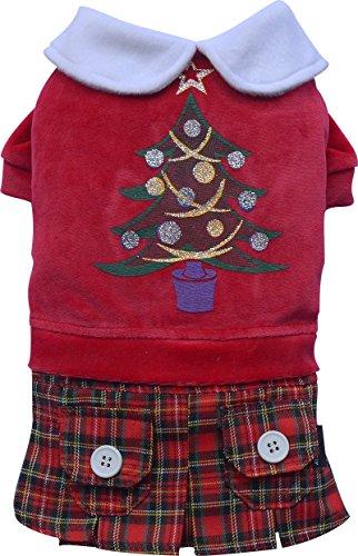 Doggy Dolly ST011 Hundekleid Weihnachtsbaum mit Schottenrock, rot, Größe : M