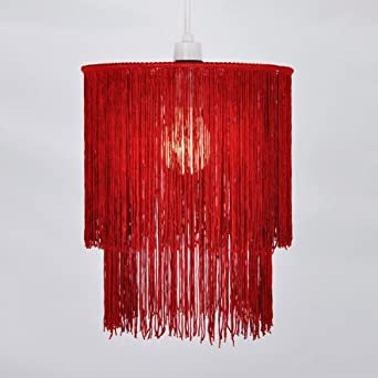 Abat jour abat jour lustre lustre suspension rouge for Lustre ou suspension