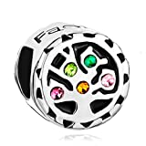 Pugster Colorful Swarovski Crystal Tree of Life Family Beads Fit Pandora Charms Bracelet