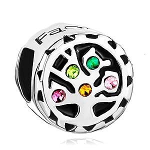 Pugster Colorful Swarovski Crystal Tree of Life Family Beads Fit Pandora Charms Bracelet